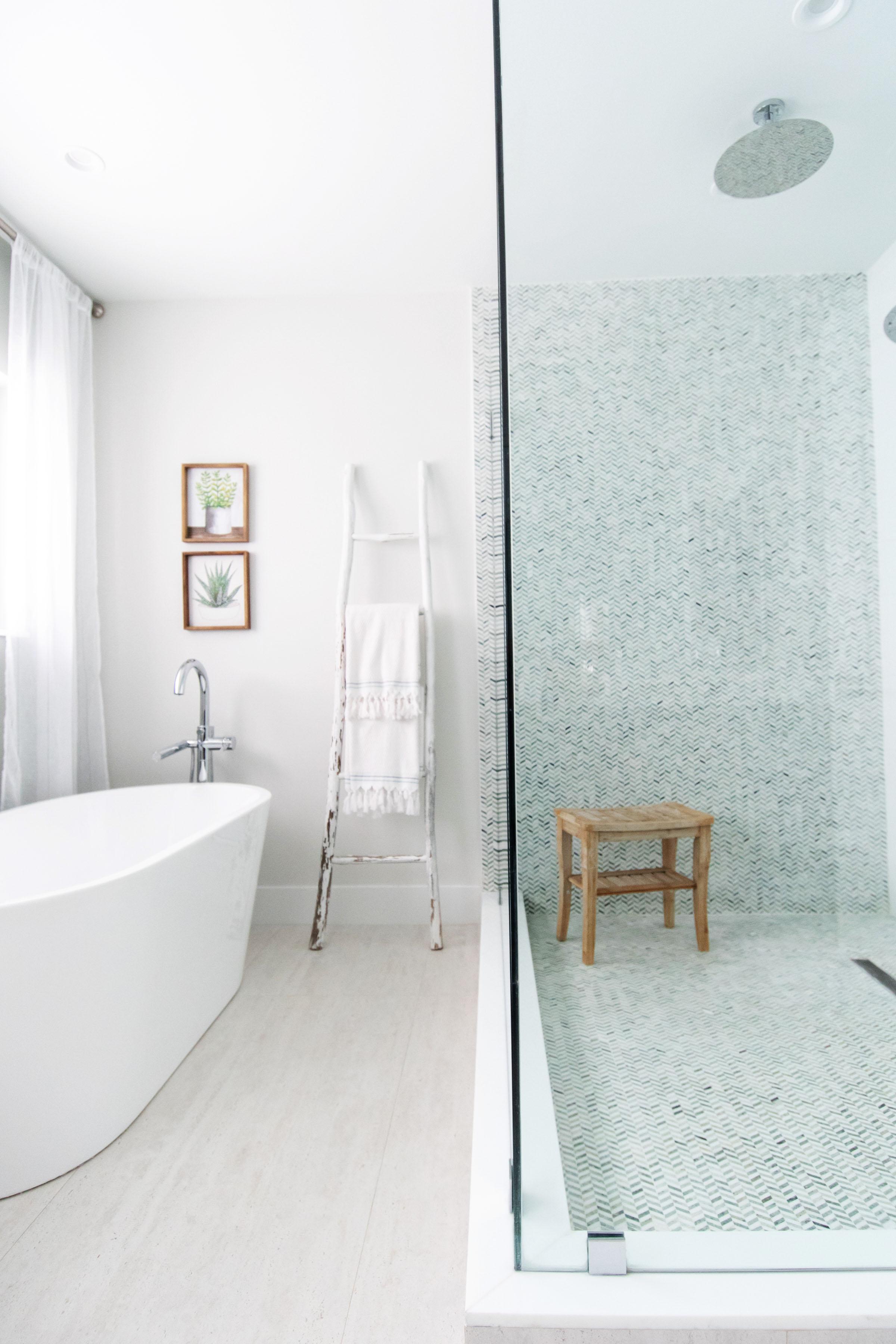 master-bathroom-standalone-tub-ladder-oversize-double-shower-thassos-marble-ming-chevron-tile-overhead-shower.jpg