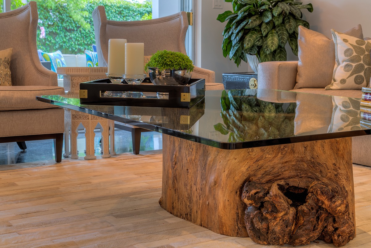 coffee table tree trunk glass top