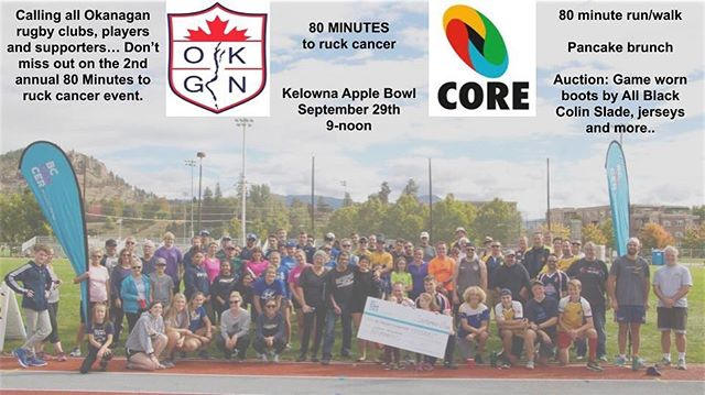 This year, the Okanagan Rugby Club will host the 2nd annual 80 minutes to ruck cancer event with members of the @bccancerfdn Fundraising platform opens tomorrow, stay tuned for more info on registration #comeonecomeall #mens #womens #school #mini #rugby #cancer #fundraiser #kelowna #okanagan #interior #britishcolumbia #canada
