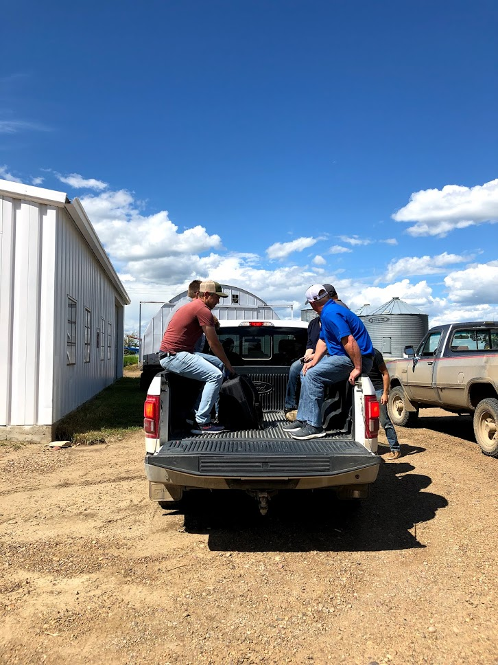 Loading up the truck to visit a field after our Harvesting meeting up in Lustre