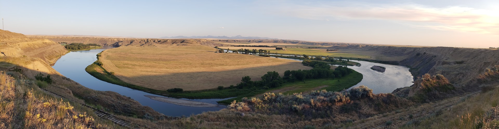 The winding Missouri River entering into Fort Benton