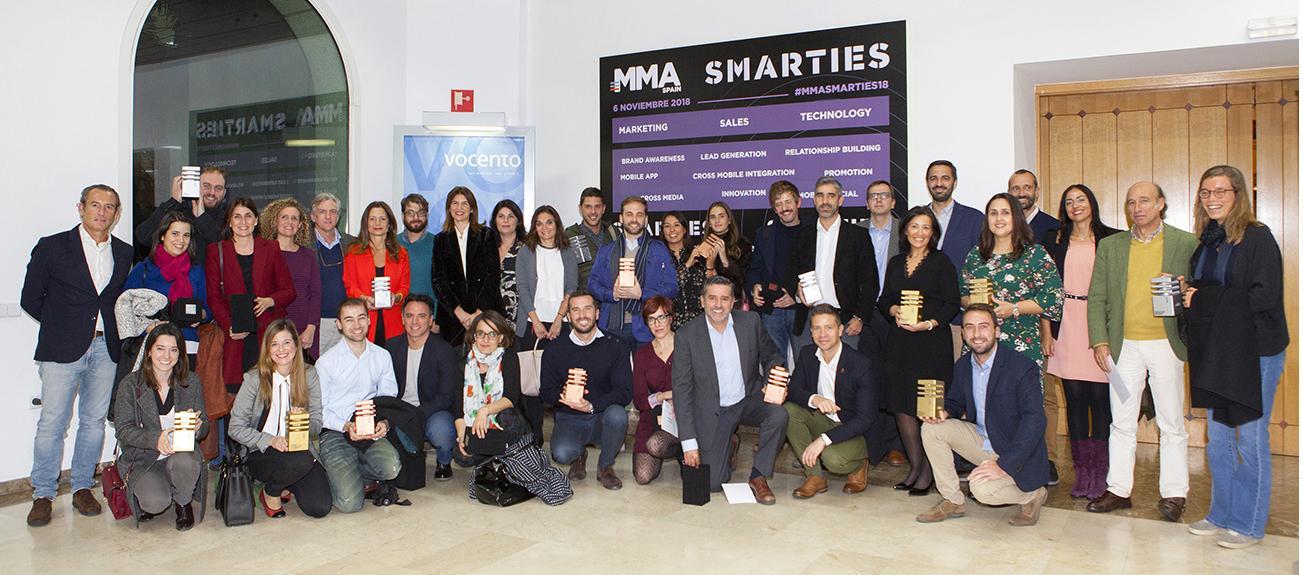 Ganadores de los II Premios Smarties de MMA Spain - 7/11/2018. Madrid. Ayer MMA Spain otorgó los premios de la II Edición en España de los Premios Internacionales Smarties 2018 y campañas nacionales ganadoras de Premios Smarties 2018 de EMEA.