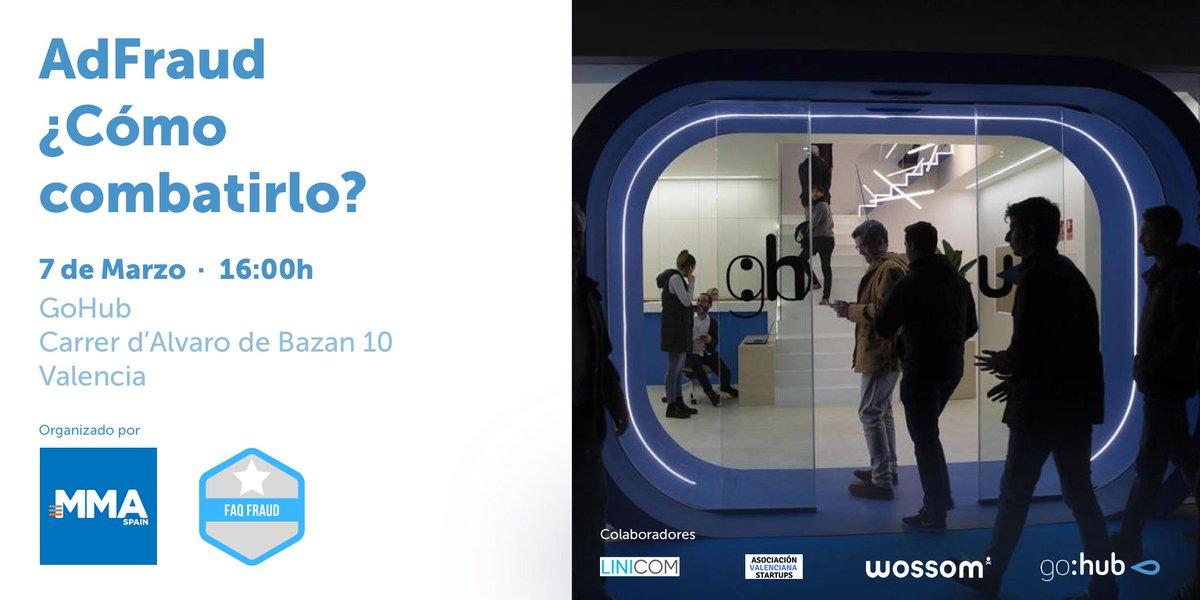 Evento FaqFraud en Valencia - Esta semana FaqFraud tenemo un evento en Valencia, el jueves día 7, de 16:00 a 18:00, en el espacio GoHub.Regístrate aquí: https://www.enterticket.es/eventos/adfraud-todos-estamos-afectados-845875
