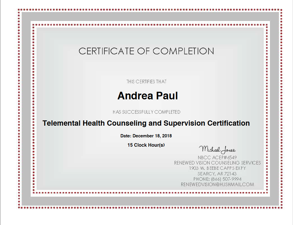 My Telemental Health Counseling Certificate
