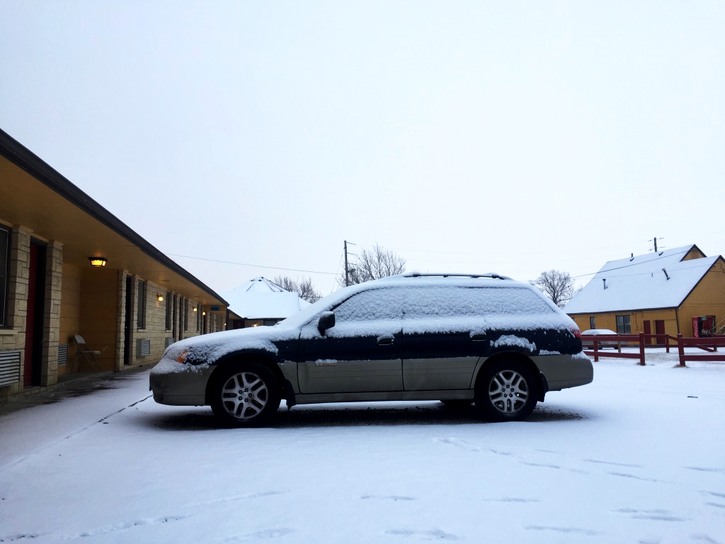 My sweet Subaru outside of Budget Host Inn