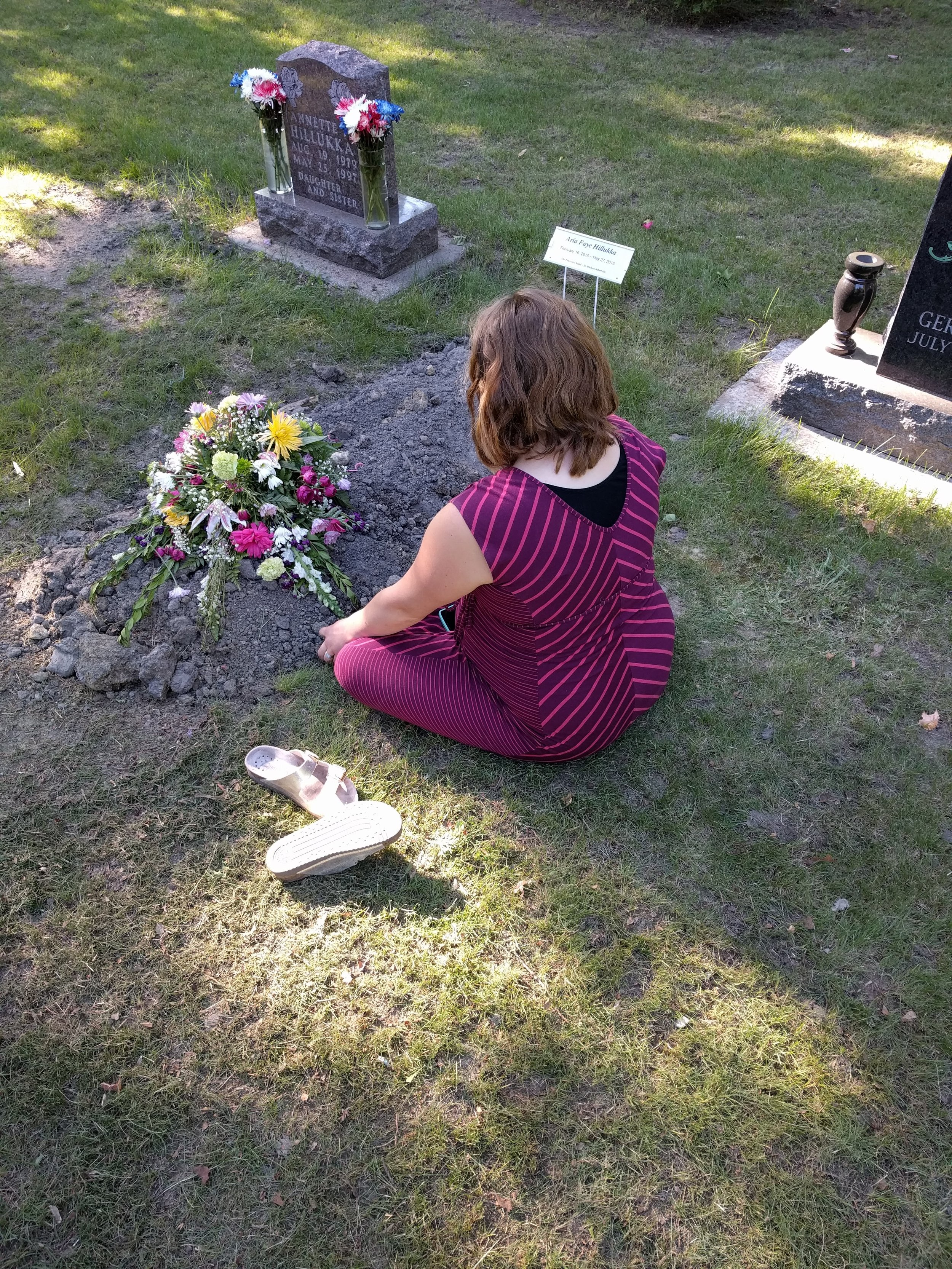 Aria is buried next to her aunt Annette, who had died 19 years and 2 days earlier than her at the age of 17 years old. Aria was named after her with her middle name Faye.