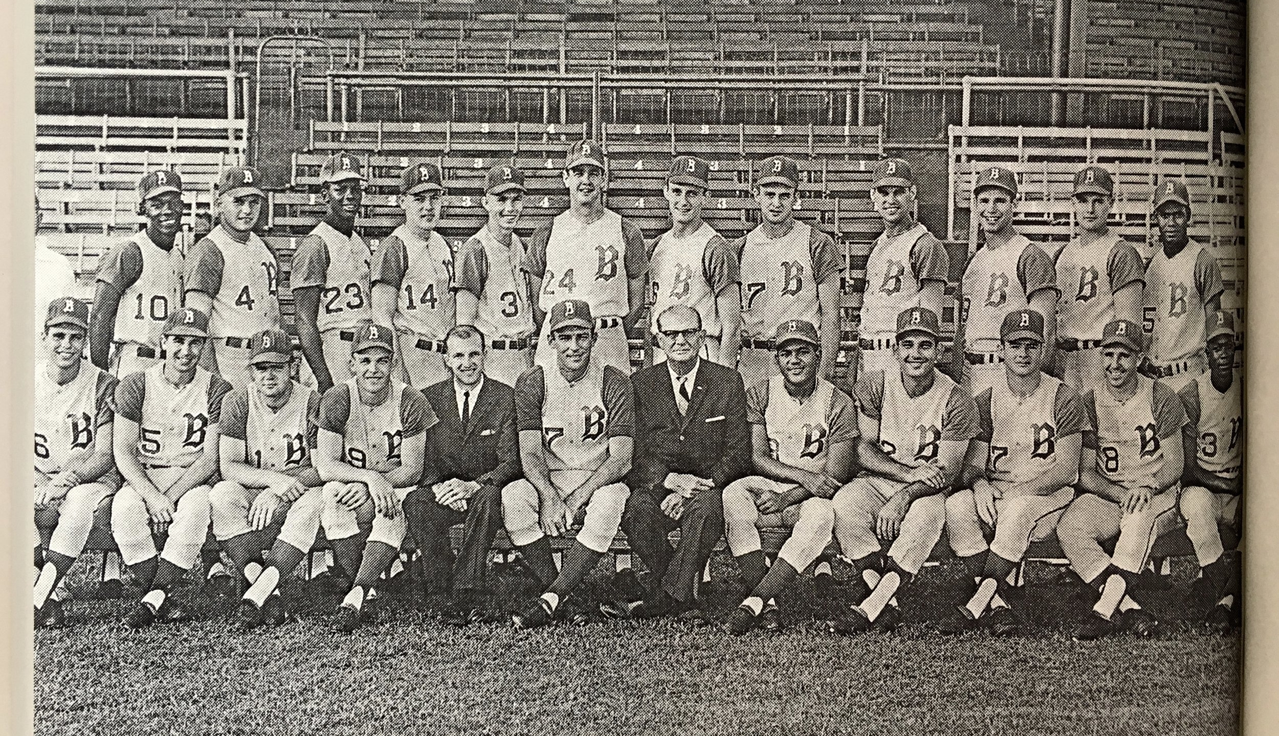Paul Seitz, the owner of Little Professor, is a retired baseball player who spent 10 years in the pros and played for the Birmingham Barons in the mid 1960s. He is shown above as a player on the first integrated baseball team in the state. Paul is on the top row, 5th from the right (#17). He loves reminiscing about his baseball days with other baseball fans.