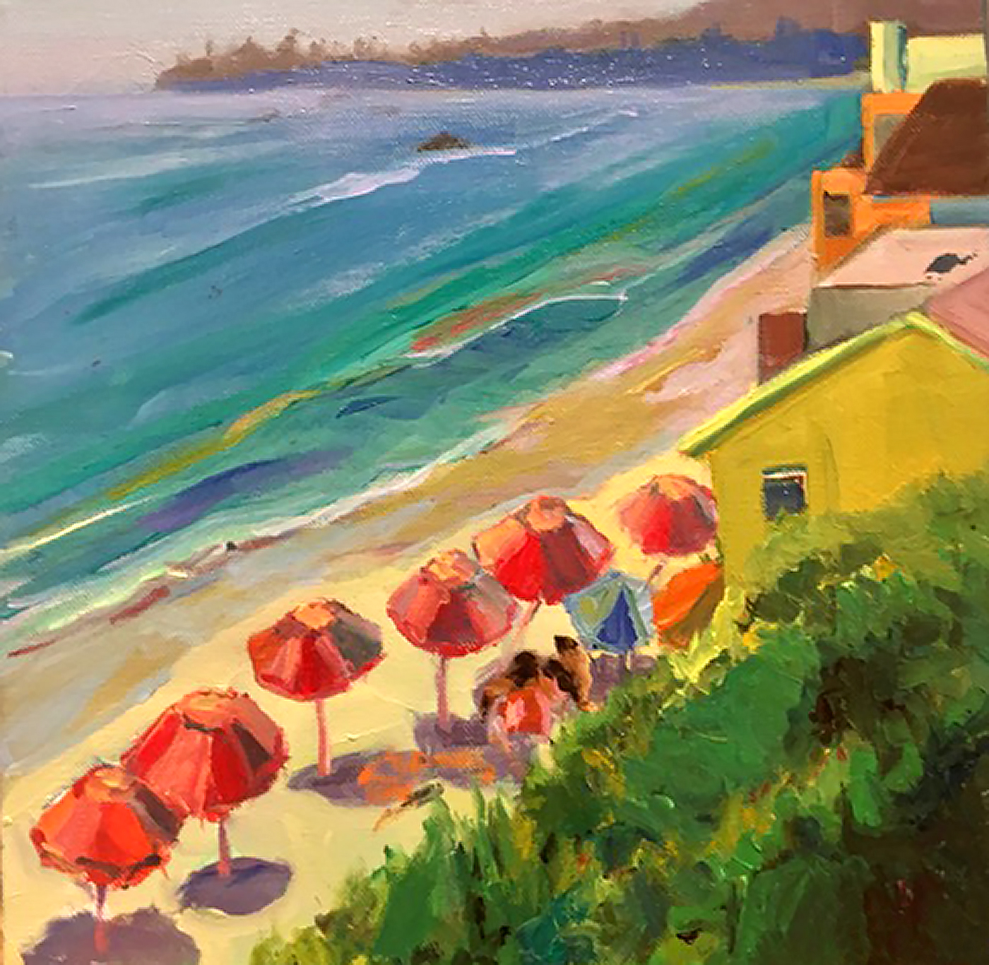 "Umbrellas in Laguna: 12x12""; Plein Air sketch; so"