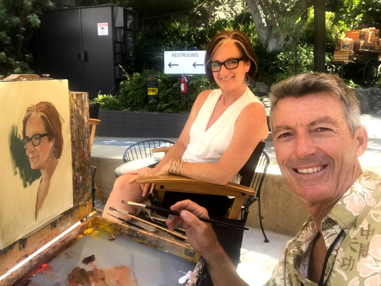 July, 2018: Such a gift! Amazing artist Michael Obermeyer lets me sit for him and paint me live at Festival of Arts show in Laguna Beach, CA