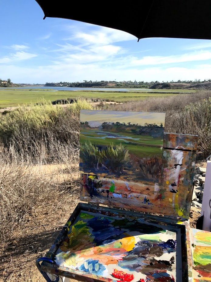 July, 2018: Close up of my easel at the Back Bay with Southern California Plein Air Painters group.