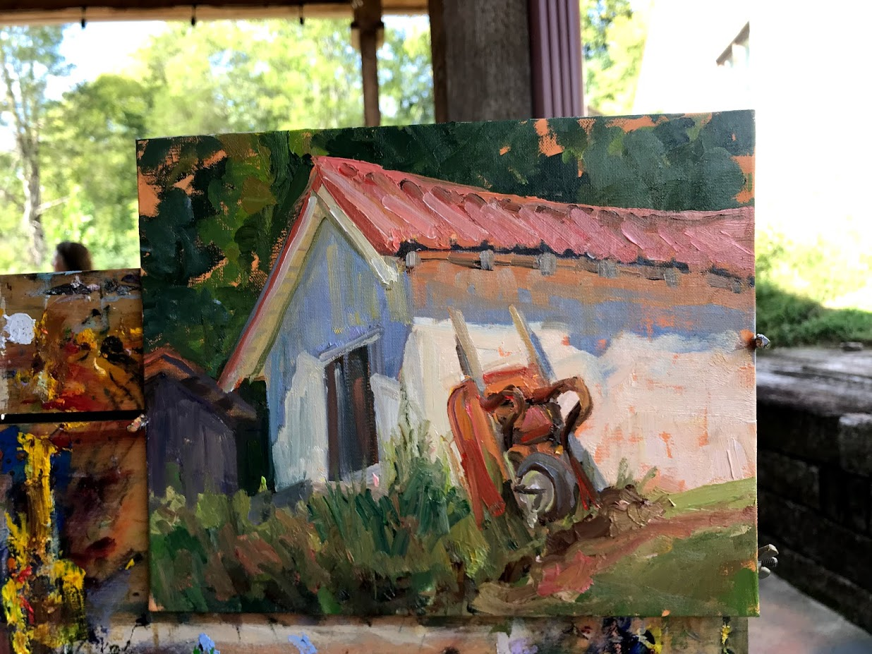 """Wheelbarrows and Barns"":8x10"" Plein Air sketch"
