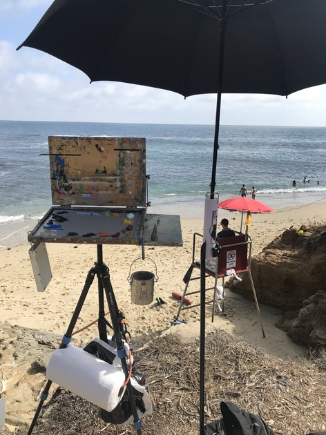 Setting up to paint at Fishermans Cove; Laguna Beach, 2017