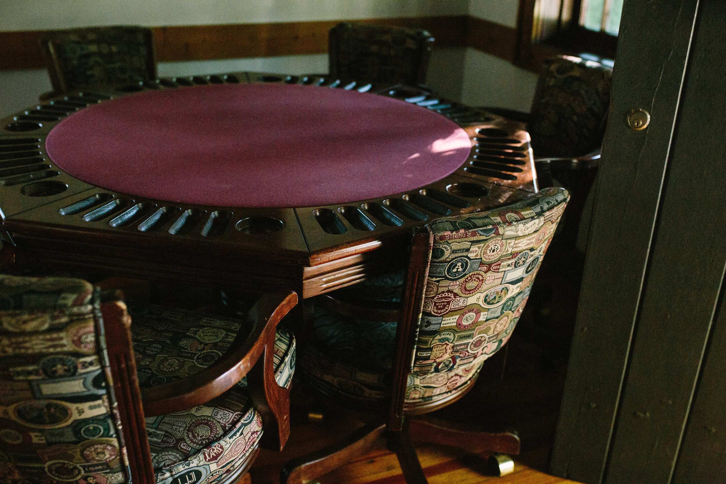 A poker table, ready for action.