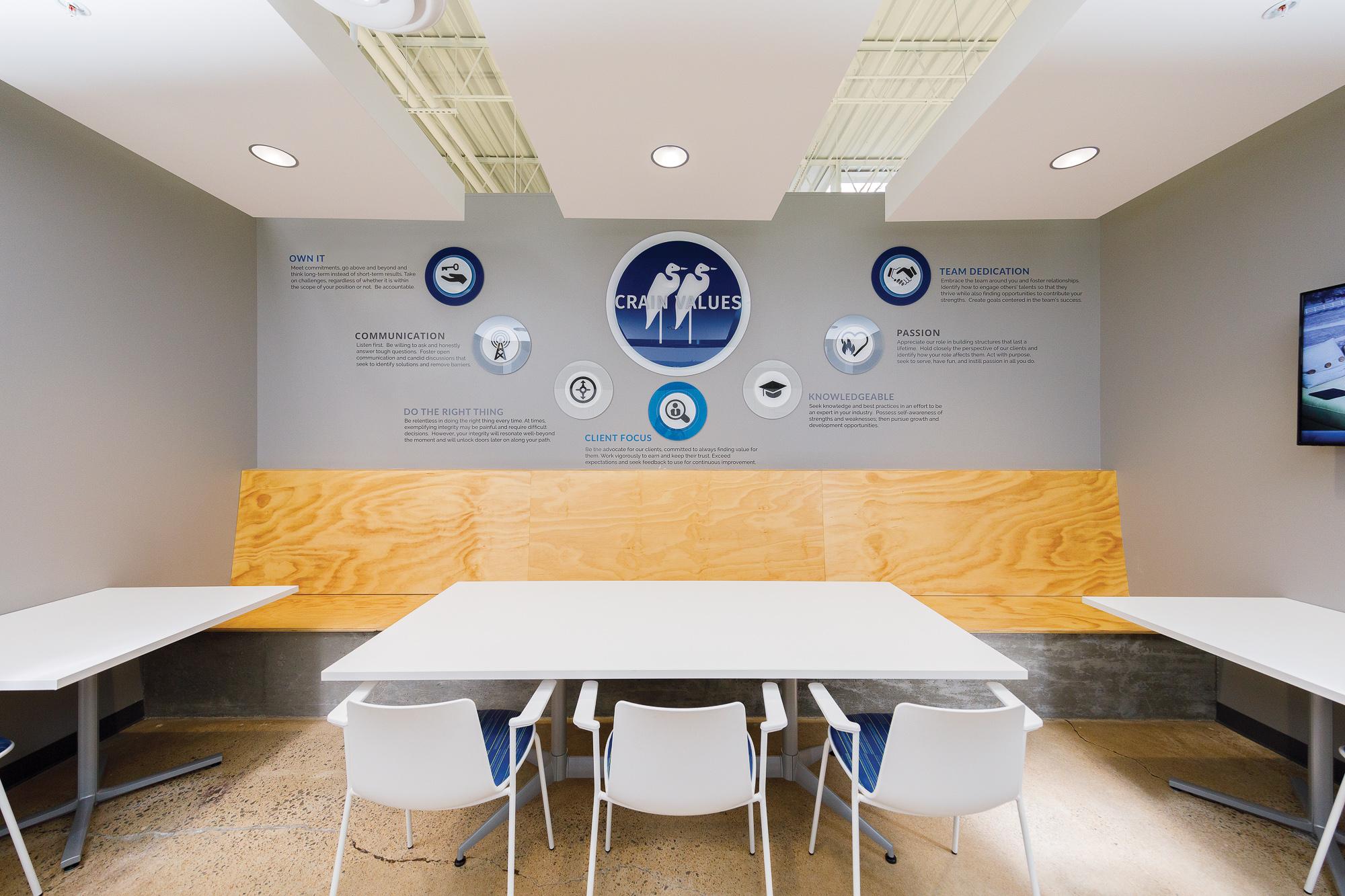 Company values - dimensional break room display