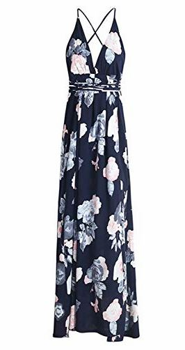 Backless Floral Print Split Maxi Dress   multiple print options available   $21.99