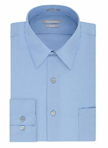 Men's Poplin Fitted Solid Point Collar Dress Shirt   multiple colors available   $19.99