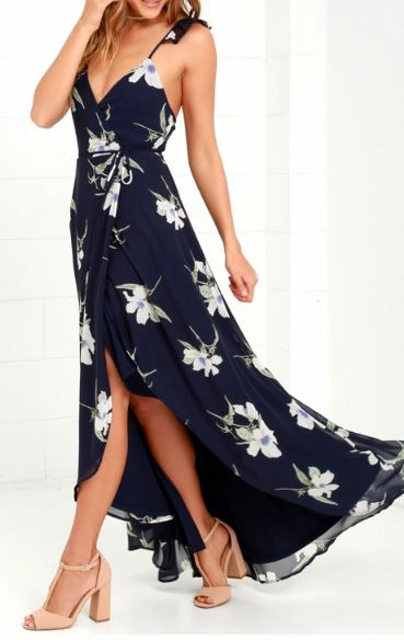 High Low Floral Wrap Front Maxi Dress   multiple floral prints available   $78.00