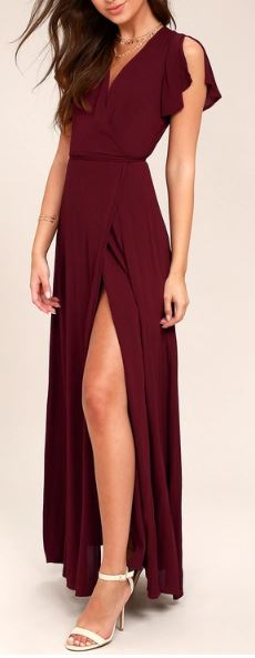 Wrap Front Maxi Dress with Slit   multiple colors available   $70.00