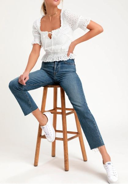 Eyelet Lace Crop Top  $51.00
