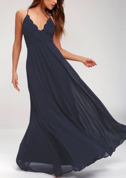 Cross Back Chiffon Full Maxi Dress   multiple colors available   $84.00