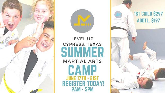 "We are super excited for our Summer Camp 2019! Visit or call us to get more info. Space is limited so make sure you get your child started and give them a boost onto the new school year! Your child will learn: •Bully Defense Techniques •Life Skills •Exercise & Good Habit building •Avoiding Peer Pressure •Dealing with ""Bully"" situations •Confidence & Focus 💻 houstonbrazilianjiujitsu.com 📲 (346)818-7881 🚗 💨 8350 Fry Rd. Cypress TX"