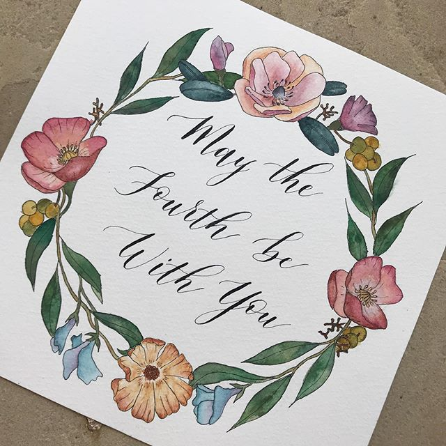 Watercolor + calligraphy piece requested by a friend as a gift for a couple who were married on May 4 😊🎨🖋💒