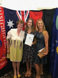 2019 North Sydney Young Citizen of the Year L-R CEO Clean Up Australia Terrie-Anne Johnson, Sophia and Surfrider Rowan Hanley
