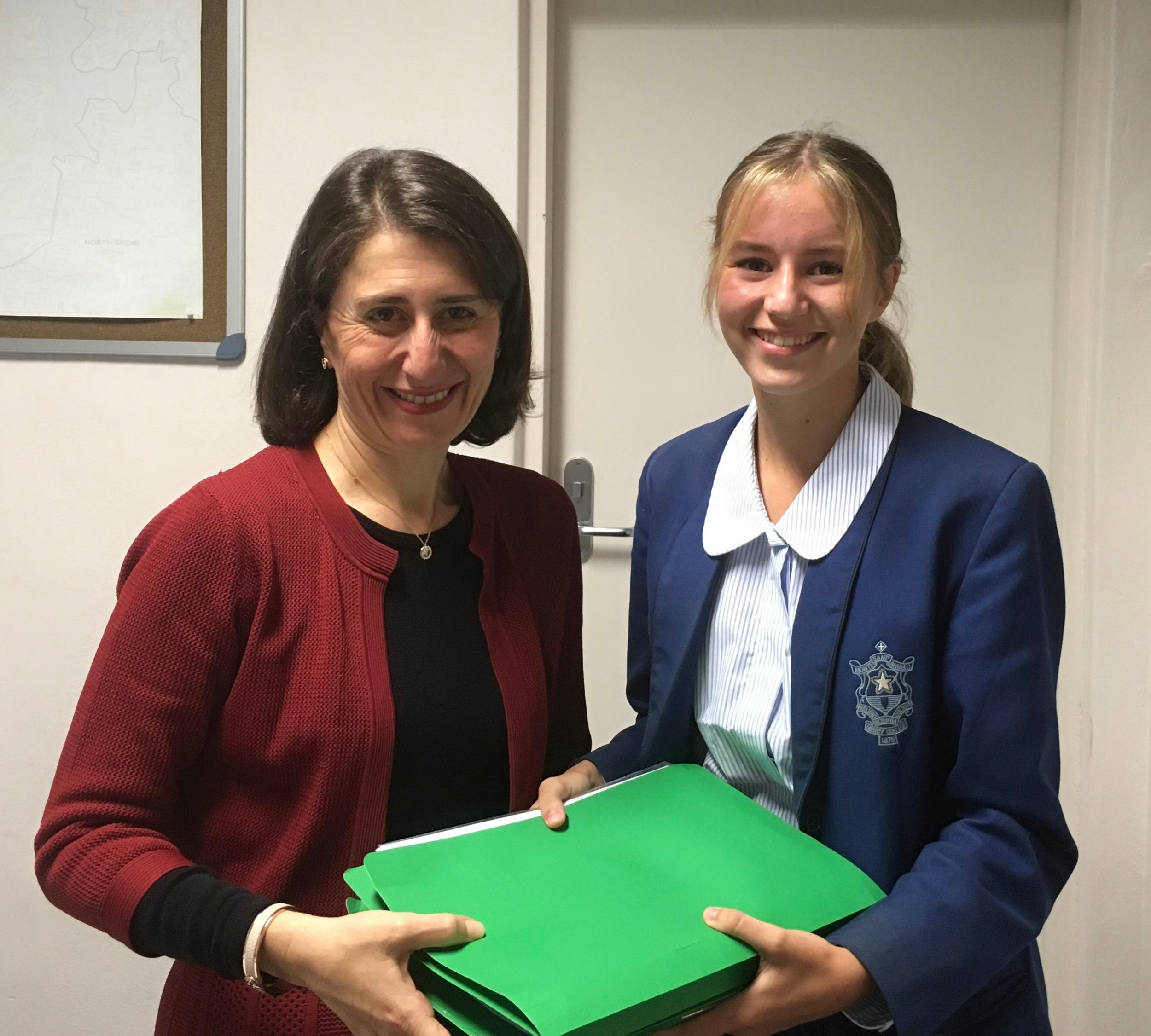 Sophia Handing the NSW Premier over 10,000 Hand Written Signatures on a Petition to Ban Plastic Bags in NSW