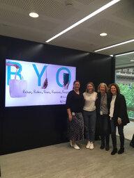 L- R Apple PR Manager Kristen Young, Sophia, Vicki Hawthorne and Inger Adamson