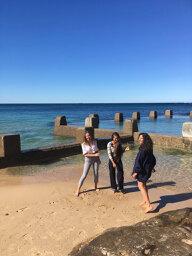 Nov 2019 issue @ Coogee Beach  L-R Sophia, Madison Stewart aka Shark Girl, Danielle Ryan - Bluebottle Films The Map to Paradise