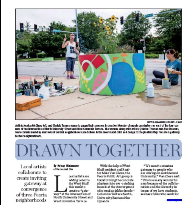 In June of 2018, I coordinated the painting of the planters at University & Columbia Terrace with four local artists.