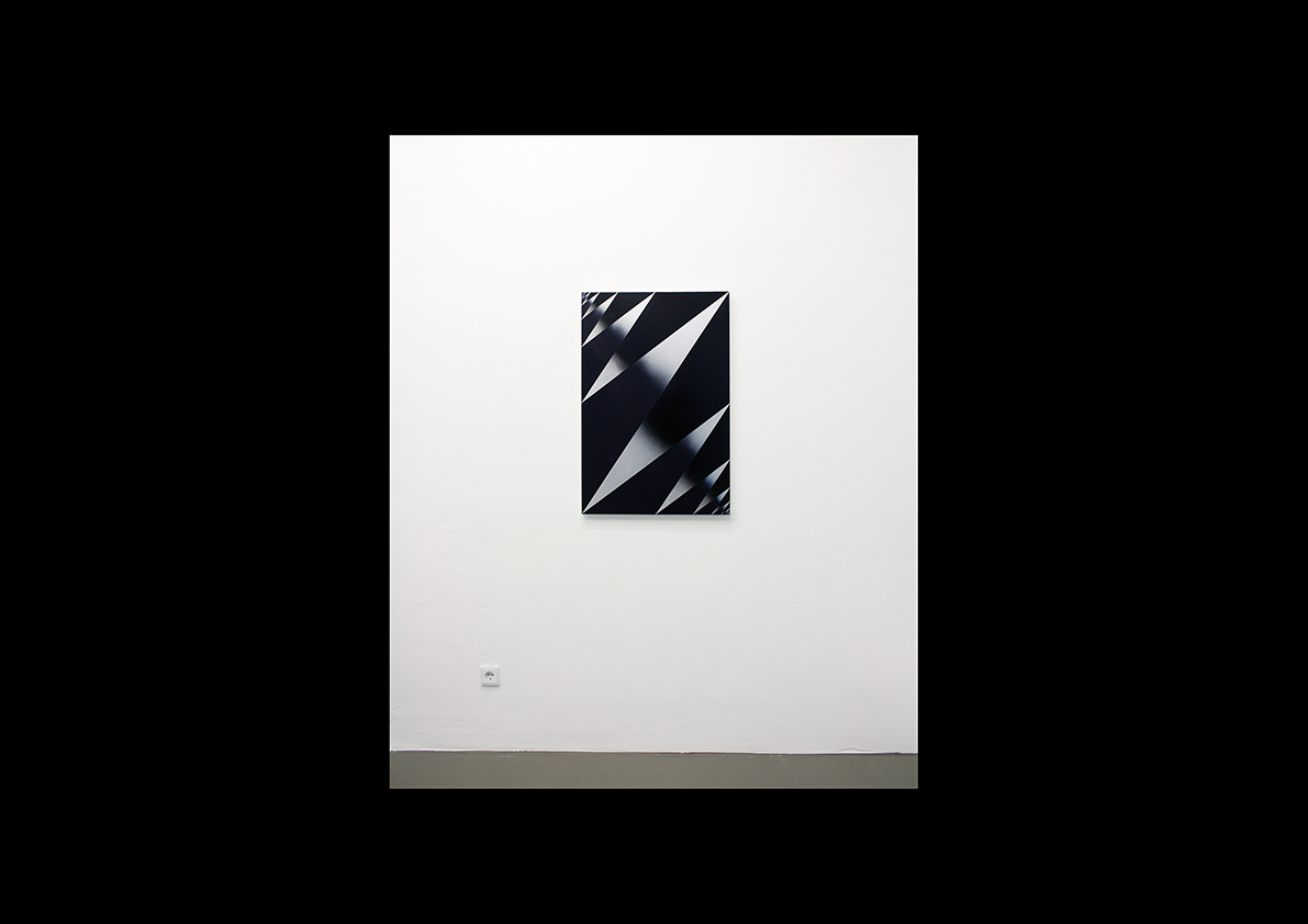 ohne Titel, 2014  Lackspray auf Baumwollstoff 90 x 60 cm