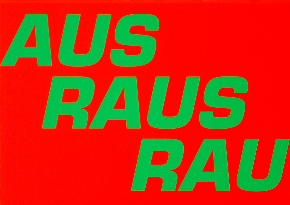 """RAUS"" 2014Acrylfarbe auf Baumwollstoff30 x 40 cm"