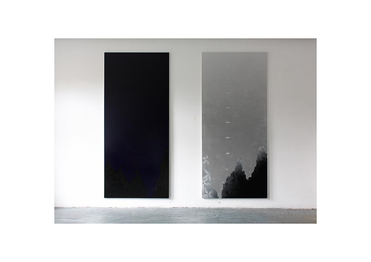 Die Nacht/ Cool Water (Stone),2011    Lackspray auf Baumwollstoff je 240 x 120 cm