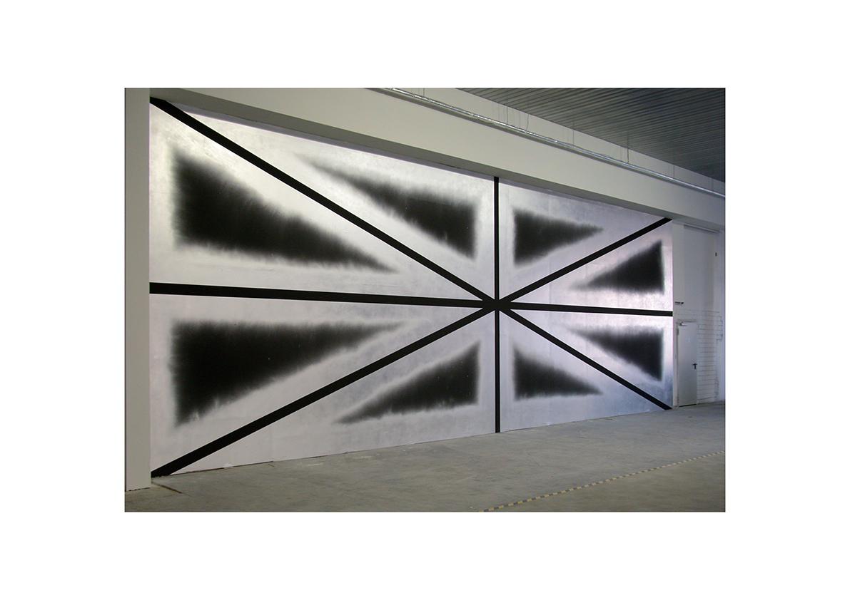 Autopilot, Gruppenausstellung Halle 29, Düsseldorf 2005    Ride the Skies (Supernova), 2005 Dispersion und Lackspray auf Wand 470 x 1312 cm