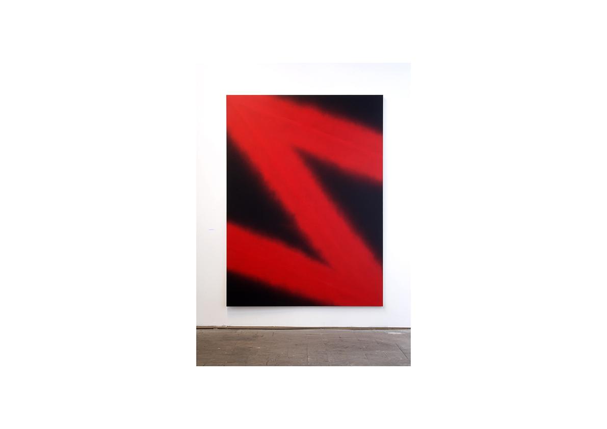 Berliner Kunstsalon, 2005    Red Lightning, 2005 Lackspray auf Baumwollstoff 216 x 160 cm