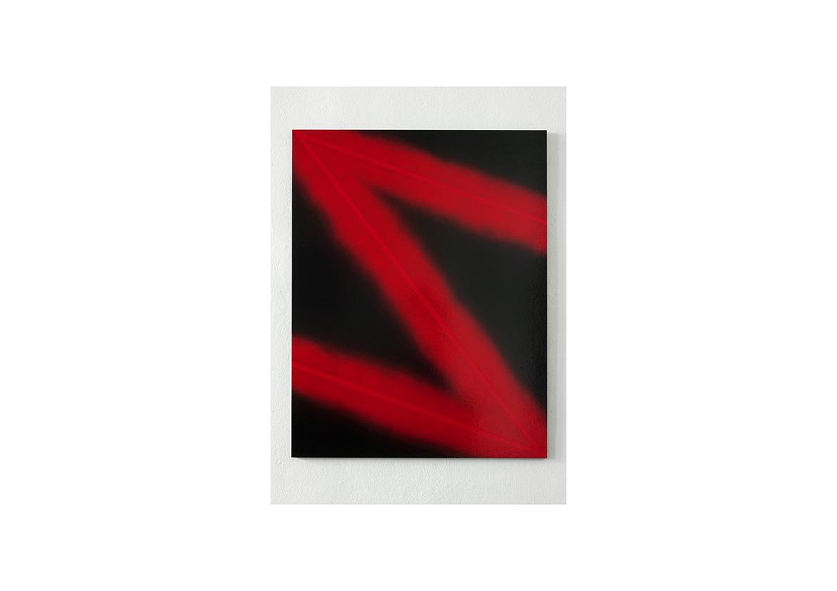Red Lightning, 2005    Lackspray auf Sperrholz 90 x 70 cm