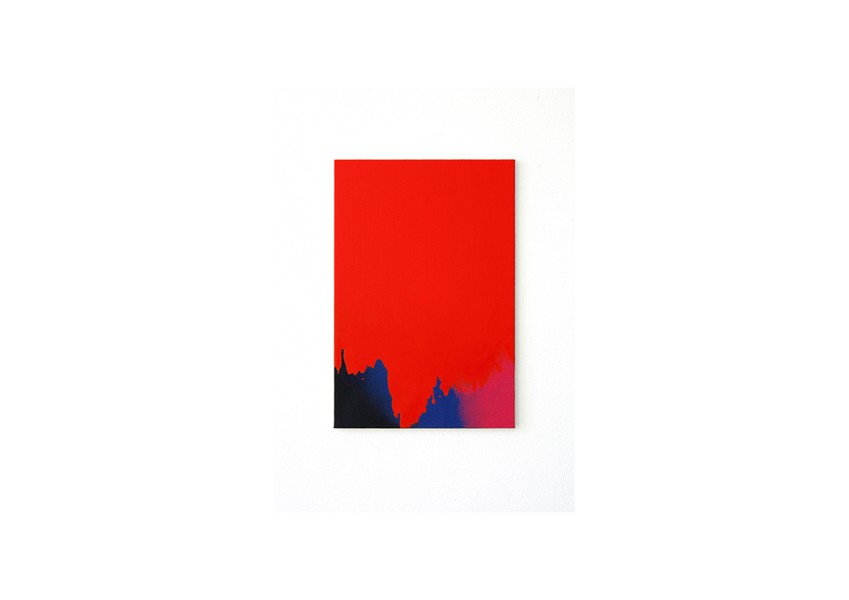 ohne Titel, 2014    Acrylfarbe, Lackspray auf Baumwollstoff 51 x 34 cm
