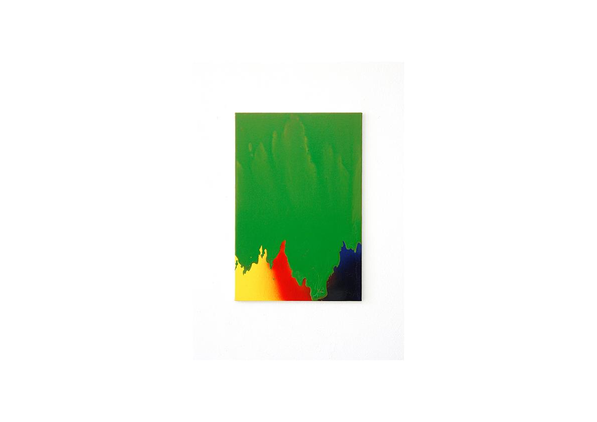Selva, 2014    Acrylfarbe, Lackspray auf Baumwollstoff 51 x 34 cm