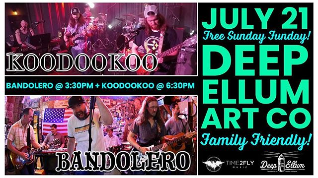 Tour closer today at @deepellumartco with @bands leromusic! We hit at 6.30, and we're pulling out all the stops for this one. . . . #deepellum #texas #dallas #dallasmusic #deepellumartco #koodookrew #austintx #austinmusic #austinmusicians #pushdallasmusicians #jambands #jamband #deadheads #gratefuldead #phish #progrock #progressiverock #wsmfp #jambandsruinedmylife