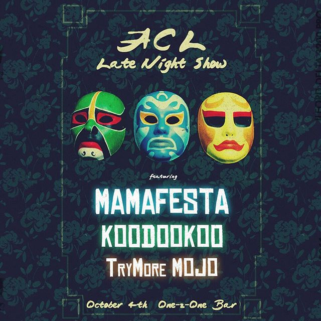 We are elated to be part of an ACL afterparty on 10/4 with two of our favorite bands in TX, @mamafestamusic and @trymoremojo! This one is gonna pop off, so don't sleep on tix! Link to discounted early birds in bio. . . . . . #jam #funk #rock #rocknroll #jambands #jamband #psychedelic #improv #concert #musicfestival #livemusic #txmusic #southernrock #southernhippies #jamtronica #livetronica #progrock #atxmusic #atxmusician #danceparty #koodookrew