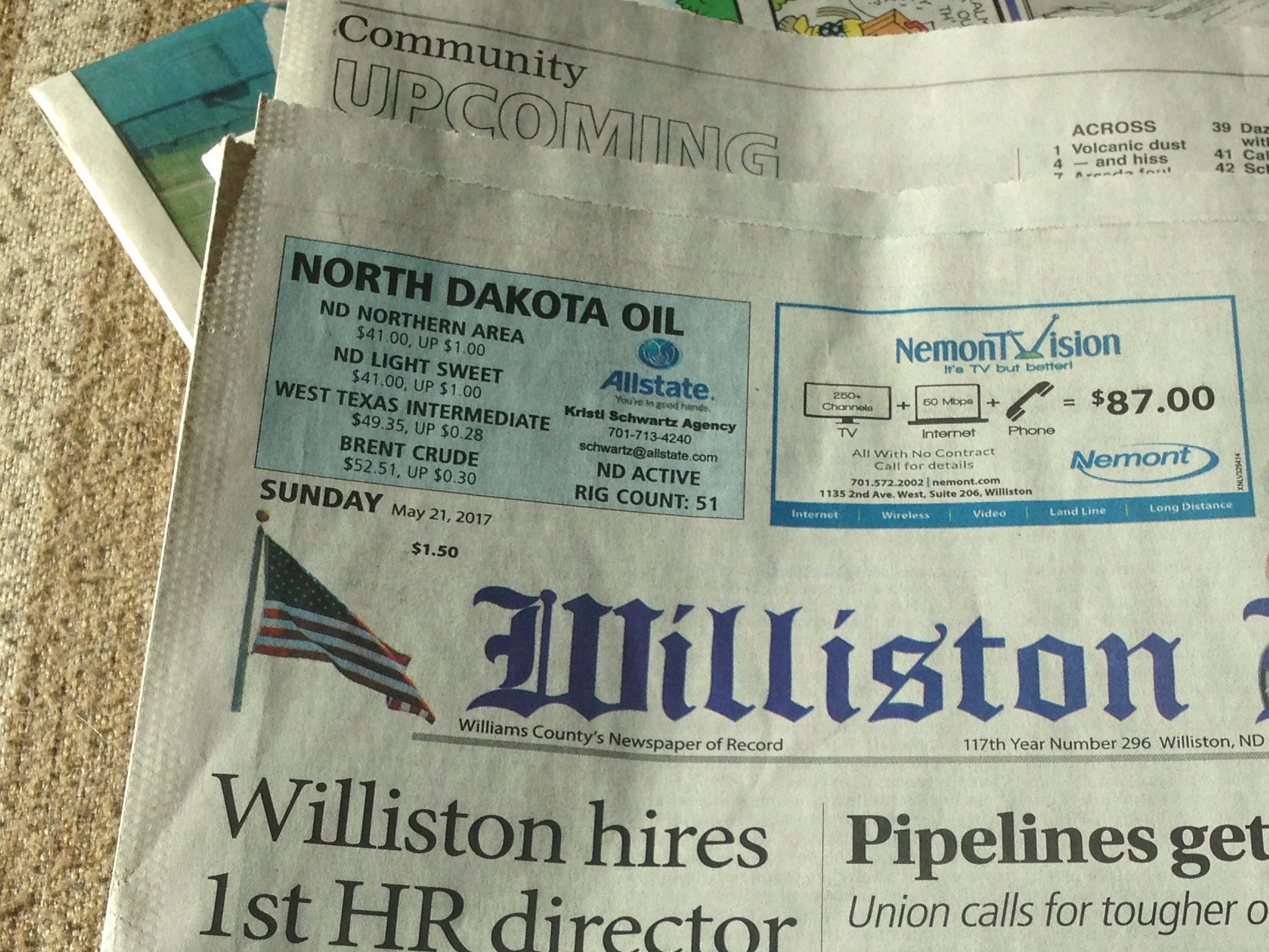 Williston Herald  reports daily oil prices on their front page