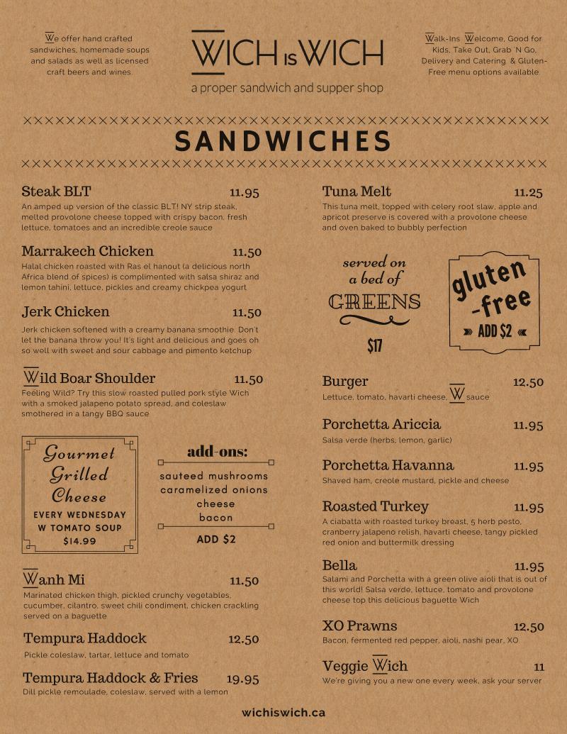Sandwich Lunch Menu Design on Kraft pg 1
