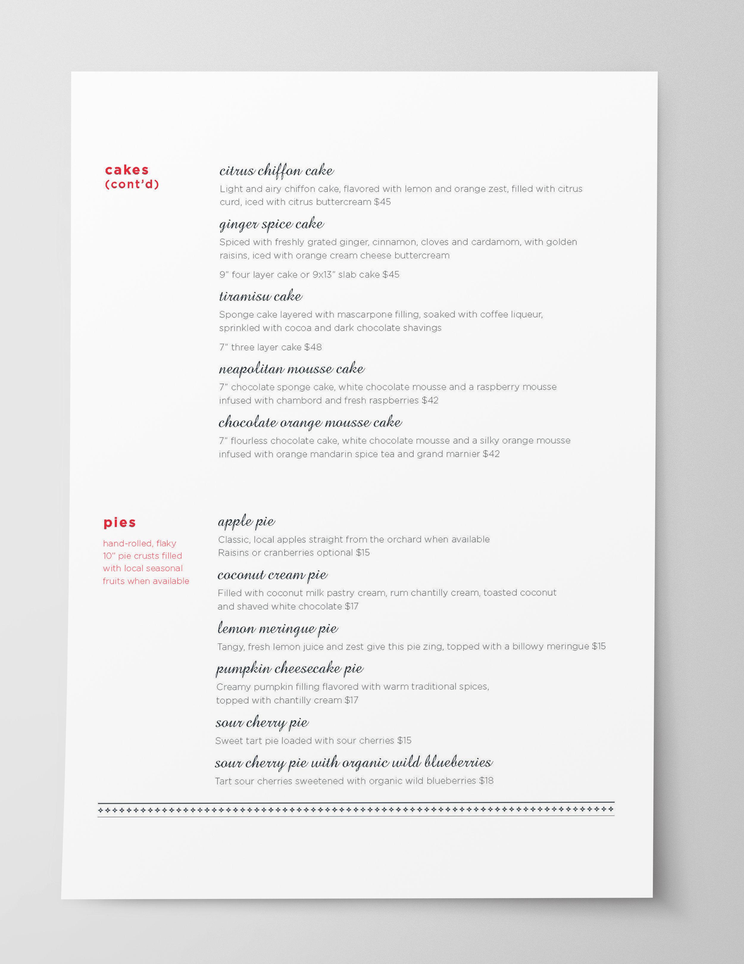 Dessert Menu Design Minimal pg 2