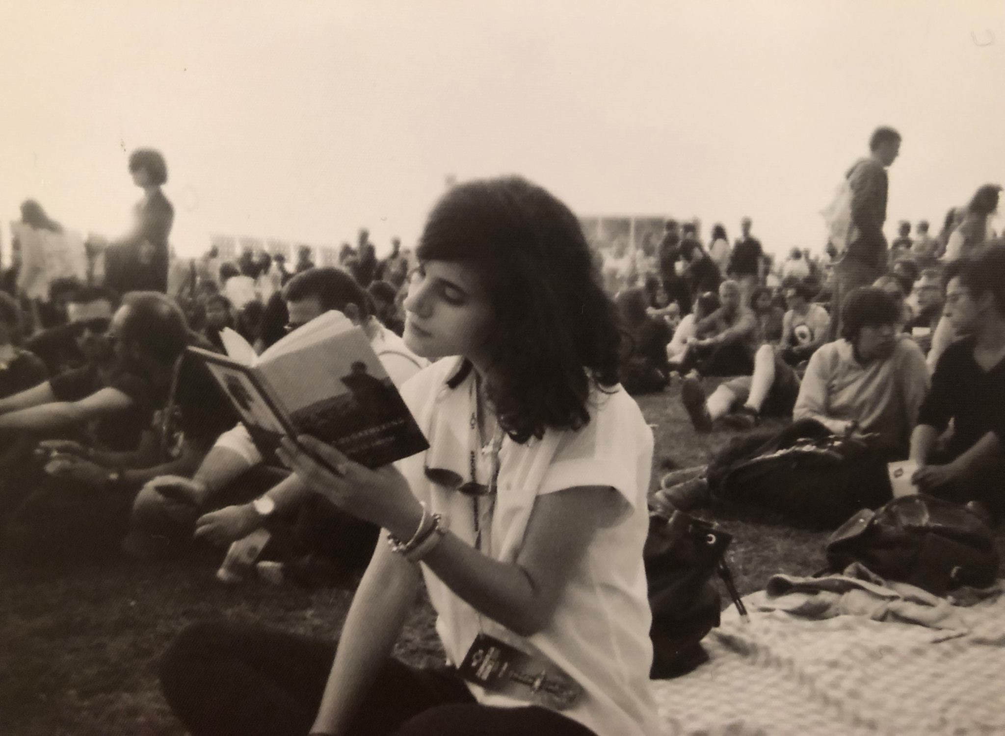 "Me at NOS Primavera Sound reading ""Woolgathering"", by Patti Smith"