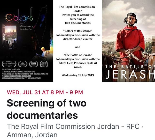 Please join us THIS WEDNESDAY for a special screening of #ColorsOfResistance in the charming outdoor amphitheater at @filmjordan ... Our director @areebzuaiter will be present to take your feedback and answer your questions. Free admission! More info: https://www.facebook.com/events/1810052662430362/?ti=ia  #FilmScreening #RoyalFilmCommission #Jordan #PalestinianFilm