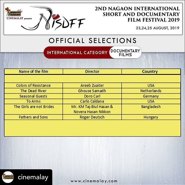 #ColorsOfResistance is heading to India! We are so happy to share that we have been selected to compete in the International Competition at the 2nd Nagaon International Short and Documentary Film Festival 2019 during August 23-25!  Posted @withrepost • @cinemalay OFFICIAL SELECTIONS in the 2nd Nagaon International Short and Documentary Film Festival 2019. Congratulations to all the participants. #nisdff #nisdff2019 #filmfestival #film #festival #official #selection #filmmakers #2019