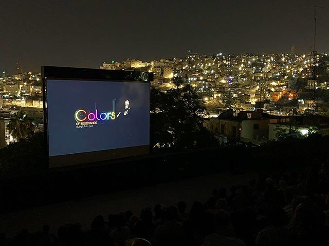 #ThrowbackThursday shots from last week's #filmscreening - what a view! Spot @asifeh & @samiahalaby_artist on the big screen at @filmjordan ... incredible to share this film with audiences around the world!