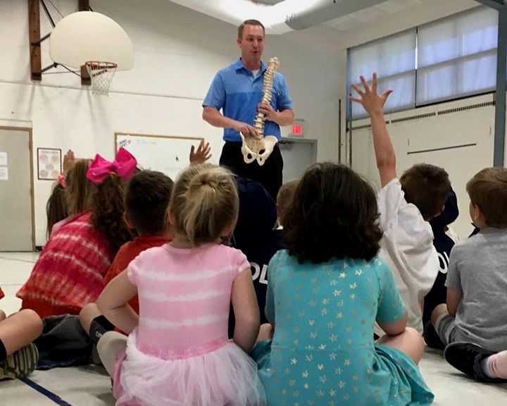 Career day - Dr. John and the team love educating local children on the benefits of chiropractic care. This was a visit to Grant Elementary. The kid even go to be a human spine!