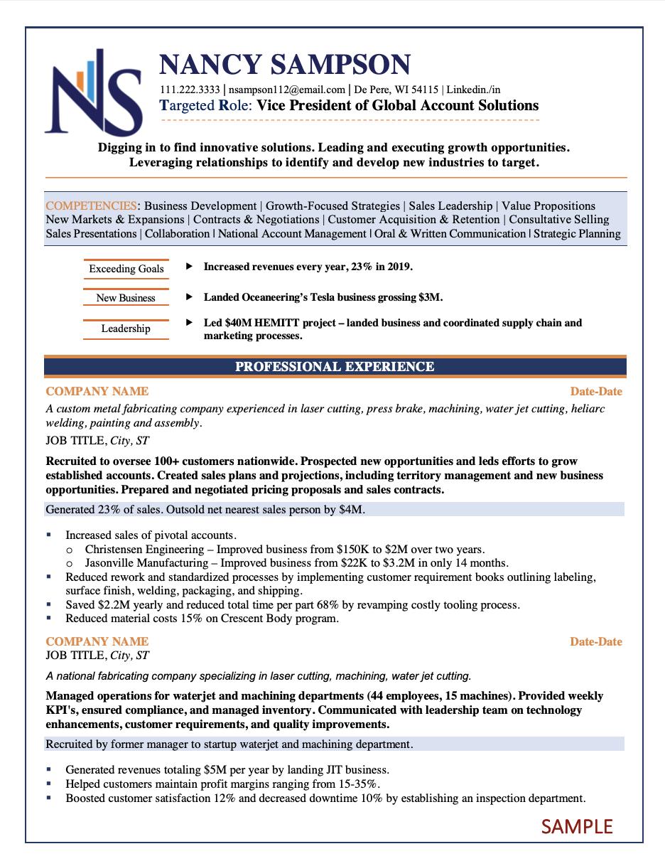 Resume Samples Resume Writing Strategic Career Coaches